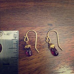 Jewelry - 14k gold real amethyst earrings